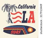 california surf. handmade palms ... | Shutterstock .eps vector #317913449