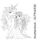 the colouring page the unicorn... | Shutterstock . vector #317916530