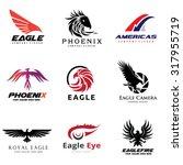 Eagle Logo Set Signature Design Bird Stock Vector Royalty Free