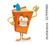 cheerful cartoon orange book | Shutterstock .eps vector #317959484