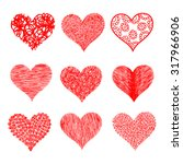 vector hearts collection. hand... | Shutterstock .eps vector #317966906