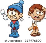 hot and cold boy. vector clip... | Shutterstock .eps vector #317976800