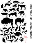 Stock photo set of silhouettes of birds and animals 317982500