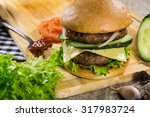 hot bbq burger with meat ... | Shutterstock . vector #317983724