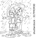 two boys under umbrella in the... | Shutterstock . vector #317993930