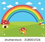 rainbow landscape | Shutterstock .eps vector #318001526