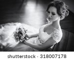 beautiful bride with stylish... | Shutterstock . vector #318007178