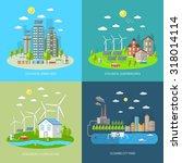 eco city design concept set... | Shutterstock . vector #318014114