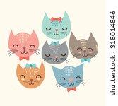 Cute Cats In Vector.