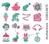 circus decorative icon set with ... | Shutterstock . vector #318014870