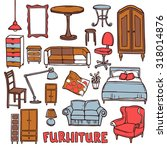 home furniture decorative icons ...   Shutterstock . vector #318014876