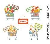 supermarket shopping cart...   Shutterstock . vector #318017693