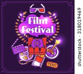 cinema sketch poster with film...   Shutterstock . vector #318019469