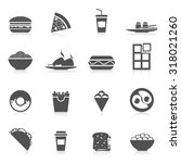fast food icons black set with... | Shutterstock . vector #318021260