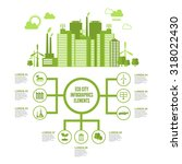 eco town infographic set with... | Shutterstock . vector #318022430