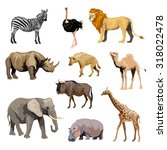 wild african animals set with... | Shutterstock . vector #318022478