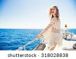 woman relaxing on a cruise boat ... | Shutterstock . vector #318028838