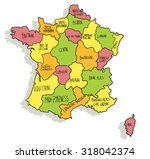 colorful cartoon map of france | Shutterstock .eps vector #318042374