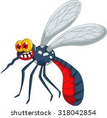 angry mosquito cartoon | Shutterstock .eps vector #318042854
