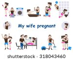 pregnant couple vector set... | Shutterstock .eps vector #318043460