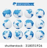 set of twelve globes showing... | Shutterstock .eps vector #318051926