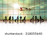 traveler with a suitcase ... | Shutterstock . vector #318055640