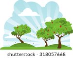 a collection of apple trees... | Shutterstock .eps vector #318057668