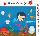 underwater   ocean vector set ... | Shutterstock .eps vector #318063560