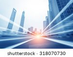 the light trails on the modern... | Shutterstock . vector #318070730