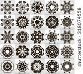 beautiful mandala set. round... | Shutterstock .eps vector #318074558