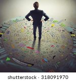 businessman thinks on the world ... | Shutterstock . vector #318091970