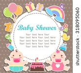 baby boy and girl care with... | Shutterstock .eps vector #318095060