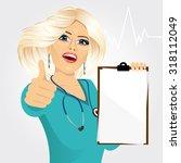 blonde nurse or female doctor... | Shutterstock .eps vector #318112049