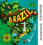 illustrated map of brazil | Shutterstock .eps vector #318144038