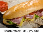 huge sandwich stuffed with... | Shutterstock . vector #318192530