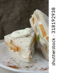 sweet sandwich with fresh cream ...   Shutterstock . vector #318192938