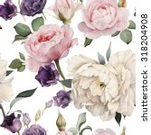 Stock photo seamless floral pattern with roses watercolor 318204908