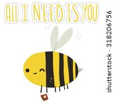 all i need is you bee postcard. ...