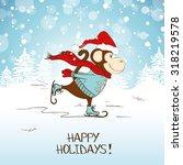 Funny Cartoon Skating Monkey....