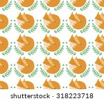 sleeping foxes seamless pattern ... | Shutterstock .eps vector #318223718