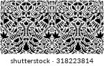 black floral pattern with birds ... | Shutterstock .eps vector #318223814