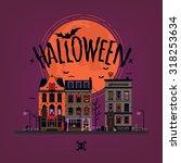 spooky halloween vector...   Shutterstock .eps vector #318253634