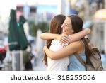 happy meeting of two friends... | Shutterstock . vector #318255056