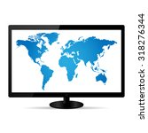 world map illustration on a lcd ... | Shutterstock .eps vector #318276344
