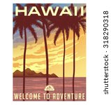 retro style travel poster or... | Shutterstock .eps vector #318290318