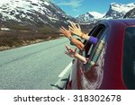 hands of men and children... | Shutterstock . vector #318302678