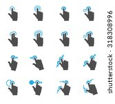 touch gestures icons | Shutterstock .eps vector #318308996