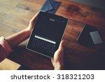 hipster man hands holding... | Shutterstock . vector #318321203