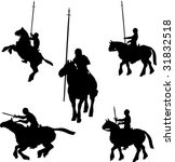 mounted knight silhouettes | Shutterstock .eps vector #31832518