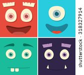 face monsters with emotions.... | Shutterstock .eps vector #318327914